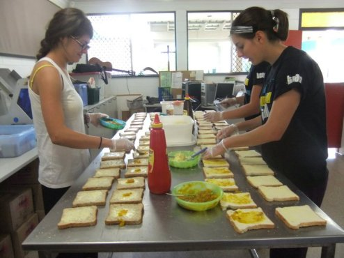 Making sandwiches at a homeless shelter in Darwin, NT.