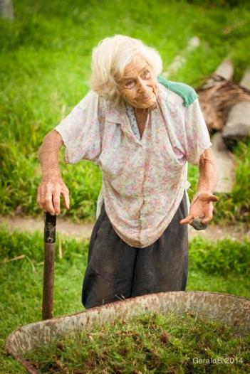 Grandma Lin out destroying weeds. (Courtesy of Gerald Bengessar.)