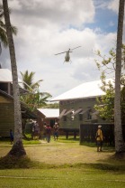 Helicopter over Kapuna Hospital. Courtesy of Gerald Bengessar.